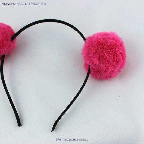 Tiara Pom-pom Carinha De Anjo Kawaii Ursinho- Pink