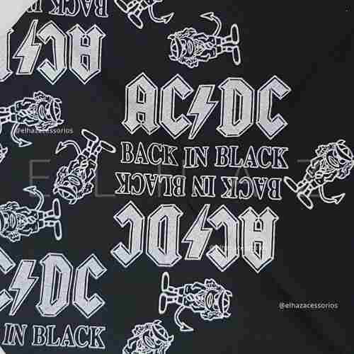 Bandana AC DC Caveira Rock Moto Lenço De Boca