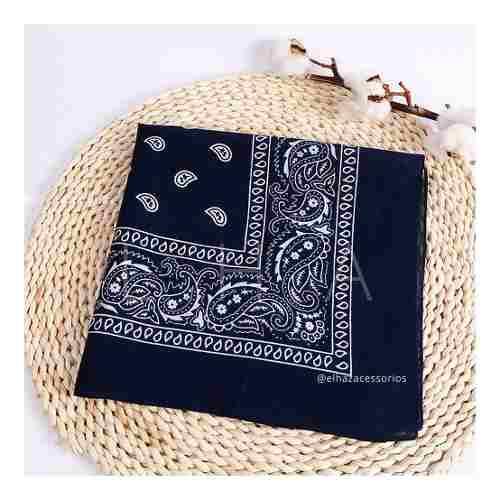 Lenço Bandana Tradicional Azul Marinho Moda Paisley