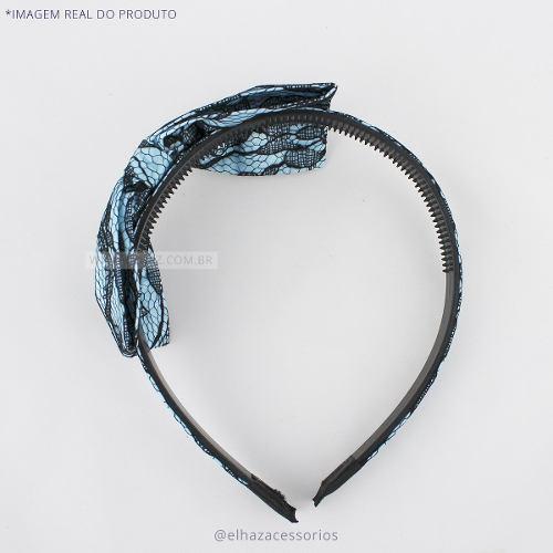 Tiara Arquinho Pin Up Kit Com Prendedor De Cabelo - Azul