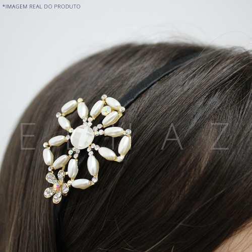 Tiara Luxo Aplique Strass Flor