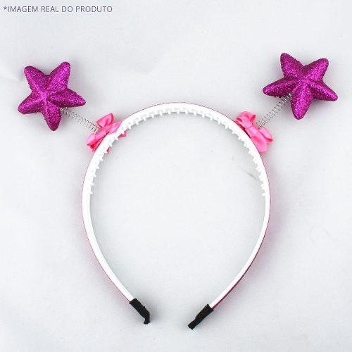 Tiara Antena Molas Chapolim Alien Glitter Pink Rosa Escuro Magenta