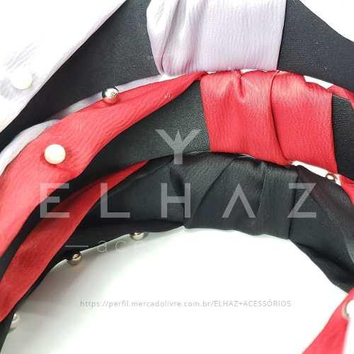 Tiara Turbante Com Pérolas Diversas Cores