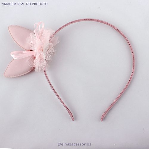Tiara Coelhinho Coelho Detalhe Tule Páscoa - Rosa