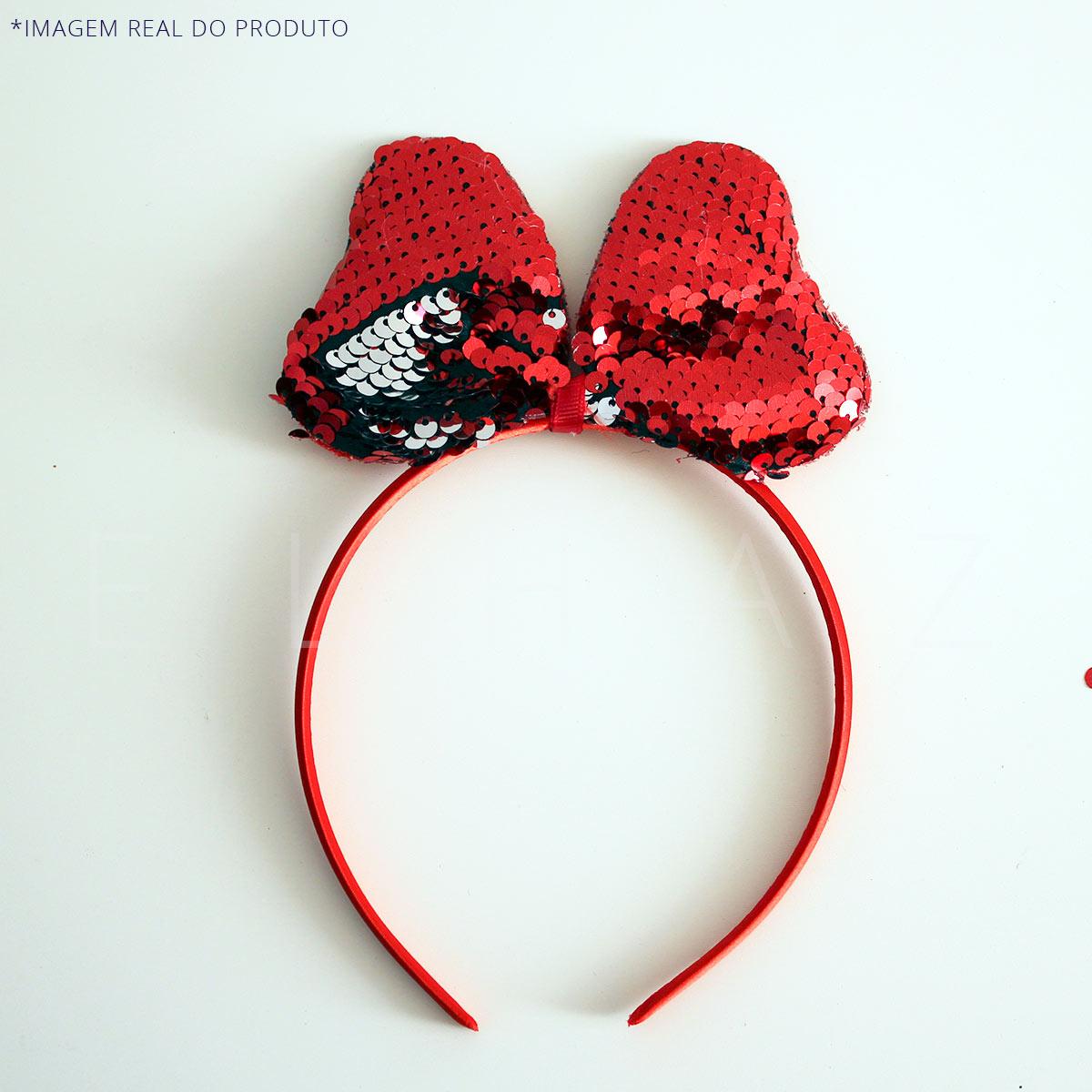 Tiara Infantil Minnie Laço Lantejoula Paete Vermelha – Carnaval