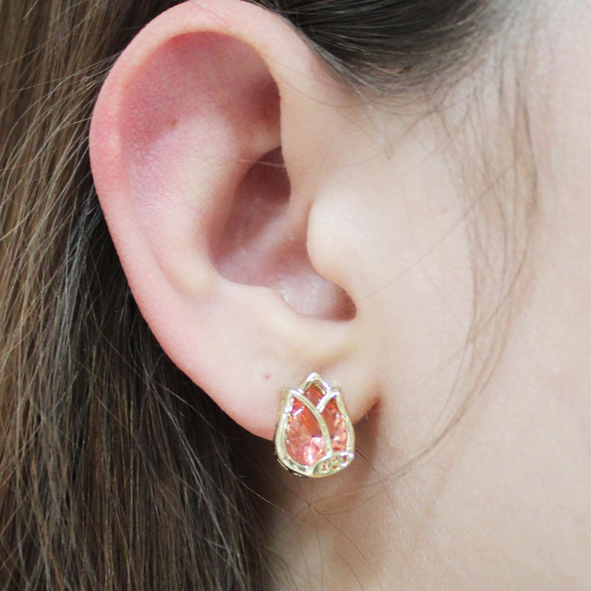 Brinco Flor de Lotus Cristal - Coral
