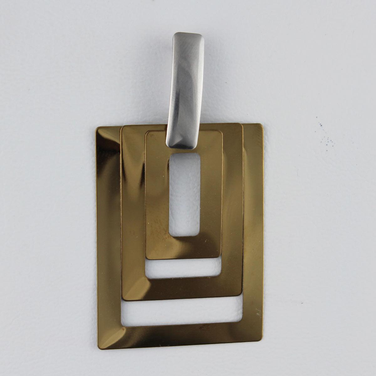 Brinco Retangulos Elegante- Prateado e Dourado