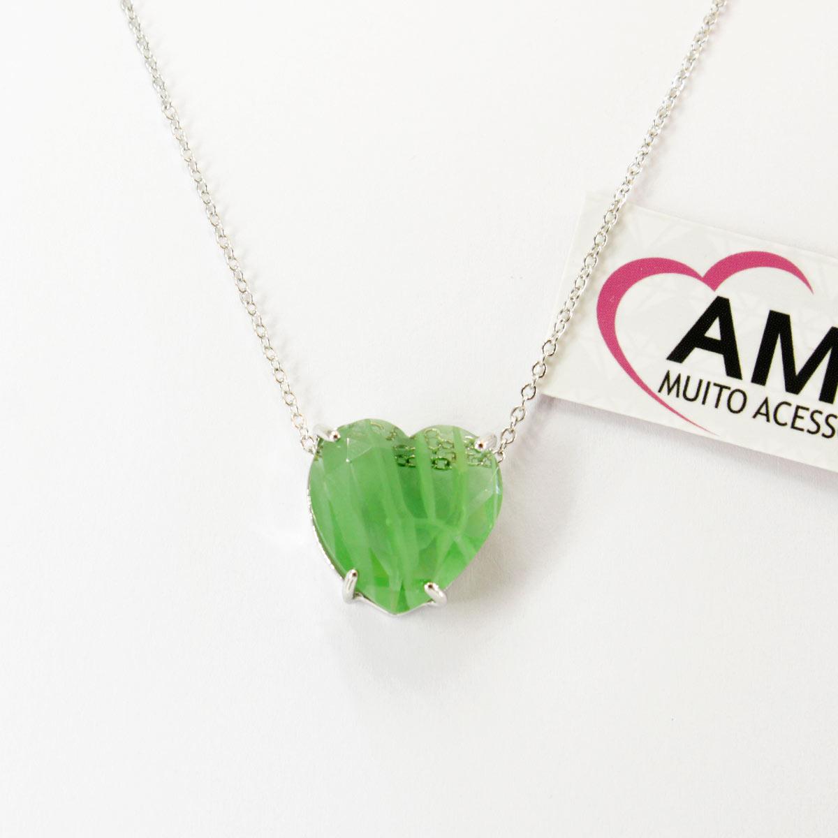 Colar de coração com pedra fusion Verde claro - Corrente Prata