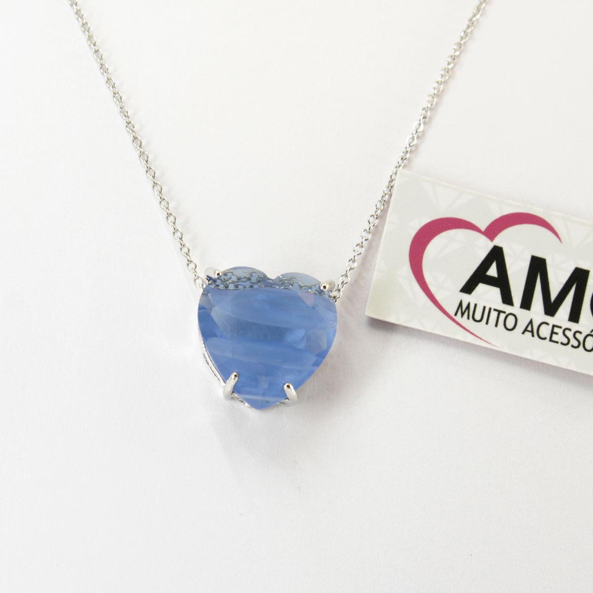 Colar de coração com pedra fusion azul claro - Corrente Prata