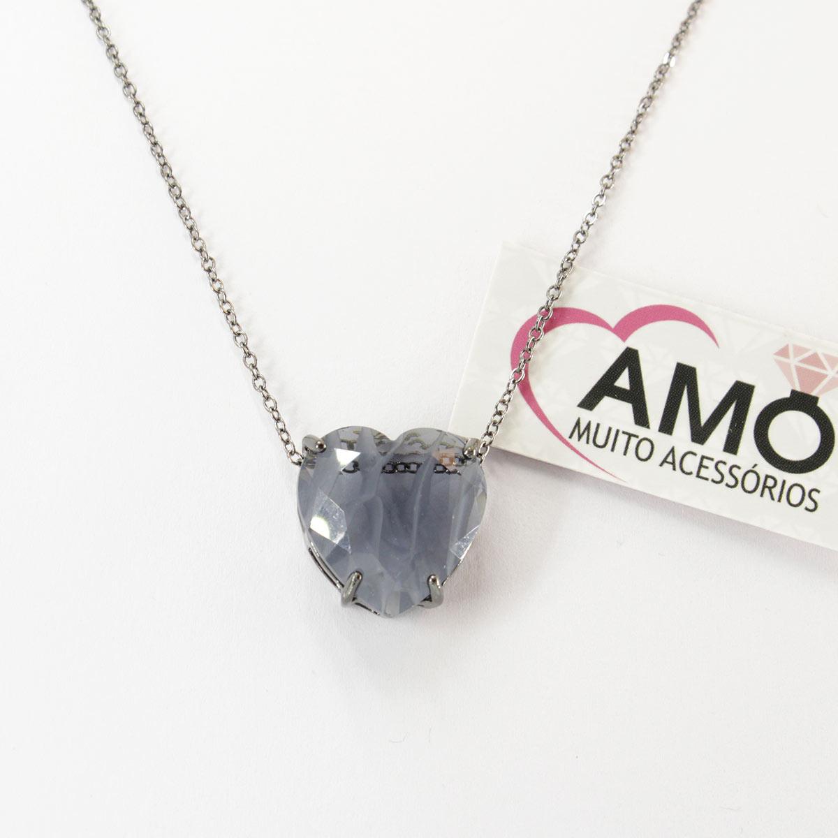 Colar de coração com pedra Cristal Cinza Azulado - Corrente Ródio Negro