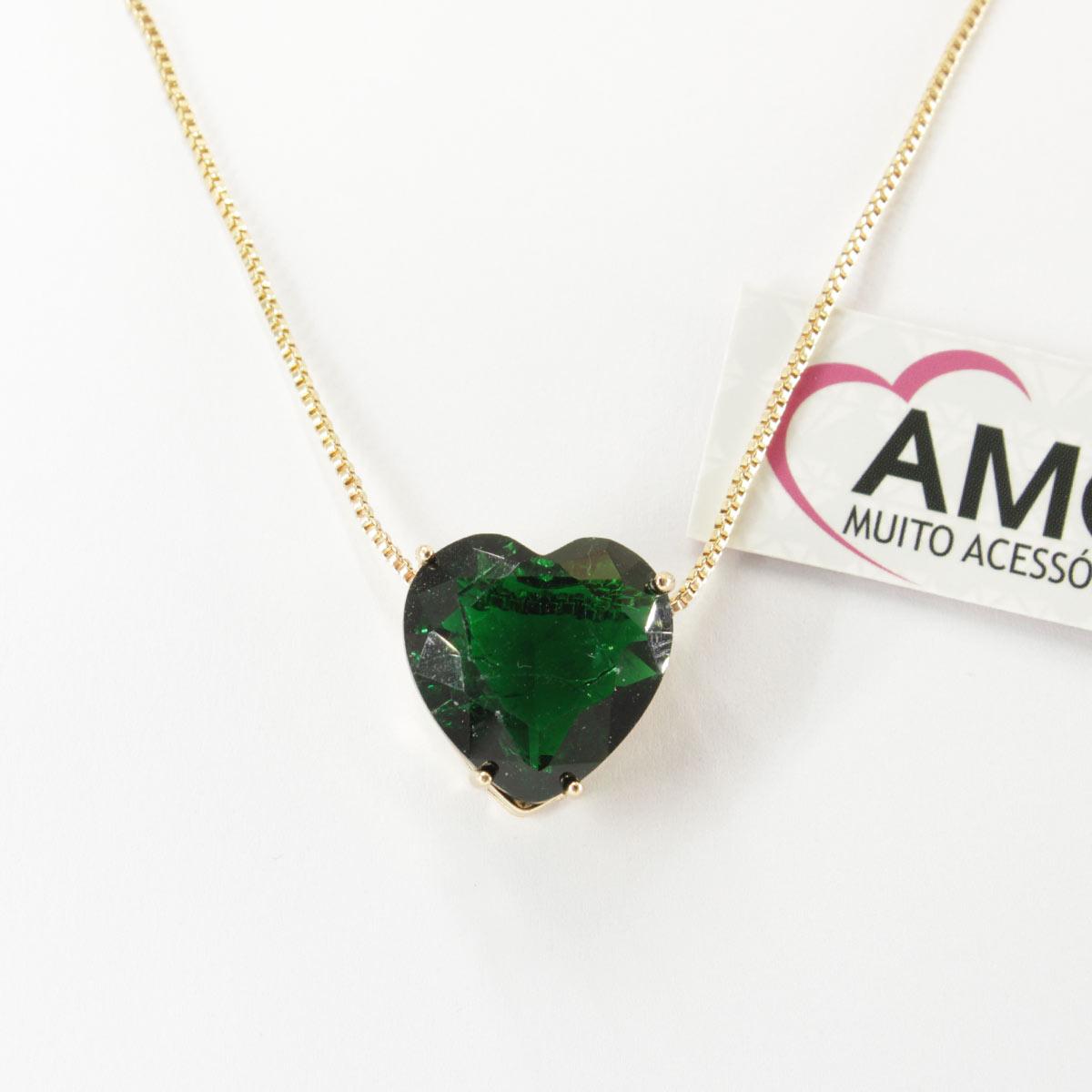 Colar de coração com pedra Verde Escuro- Corrente Dourada
