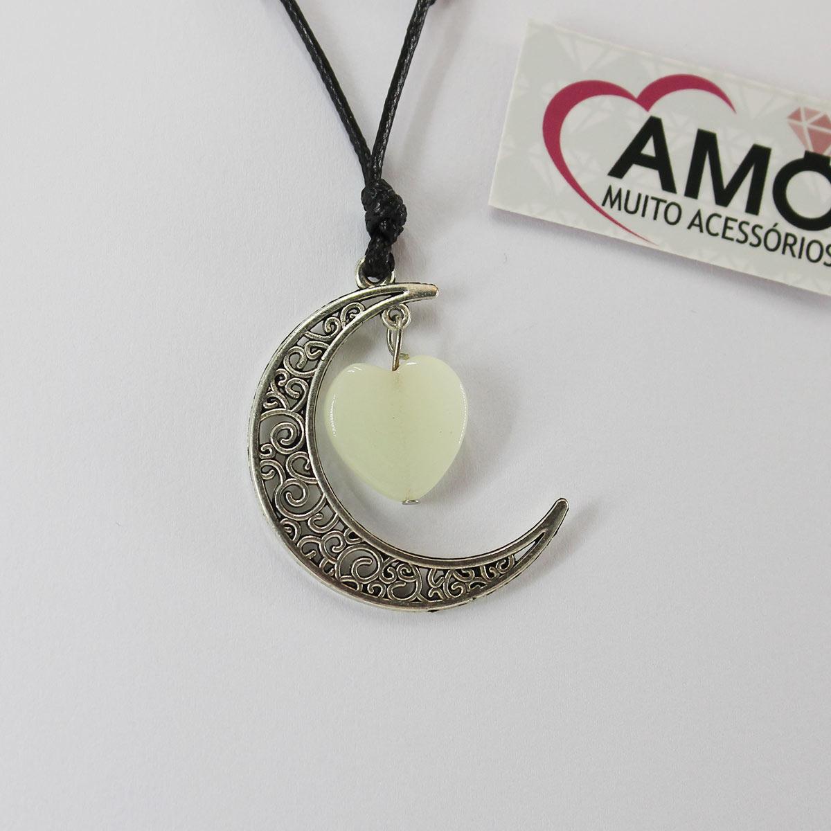 Colar Corrente Ajustável Pingente Meia Lua Com Pedra Lapidada - Coração Pedra Brilha No Escuro