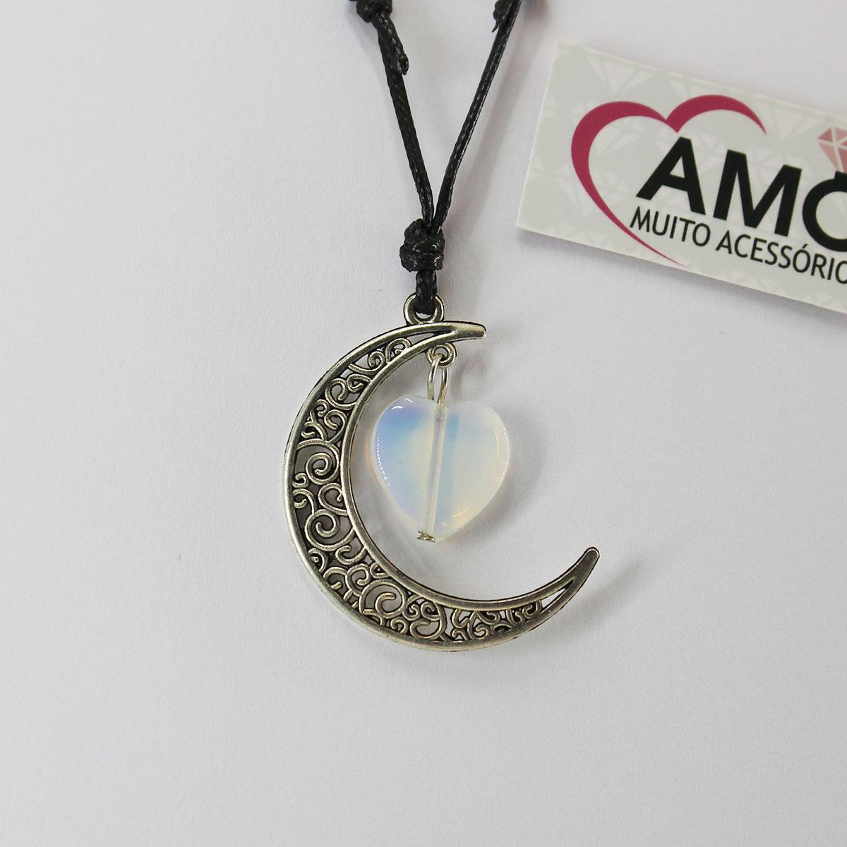 Colar Corrente Ajustável Pingente Meia Lua Com Pedra Lapidada - Coração Pedra Da Lua