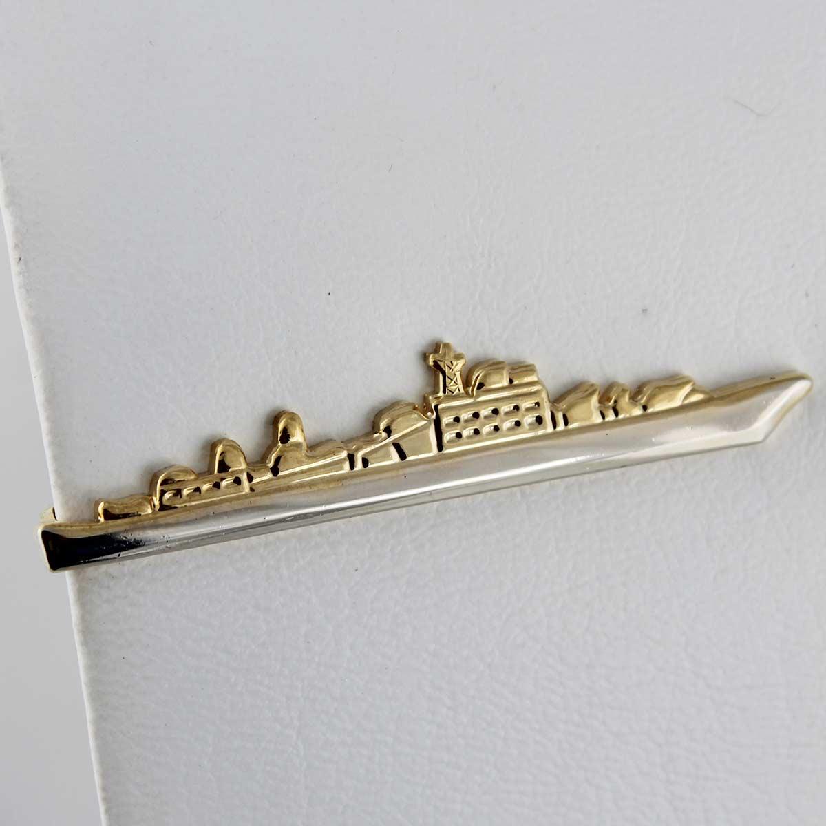 Prendedor de Gravata Formato Navio - Prateado e Dourado