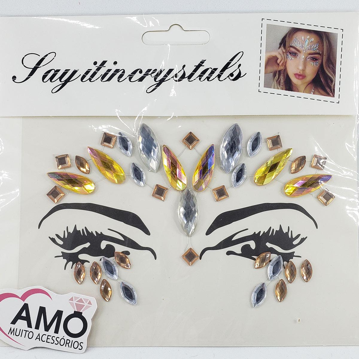 Adesivo Strass Rosto Para Maquiagem De Carnaval - Dourado