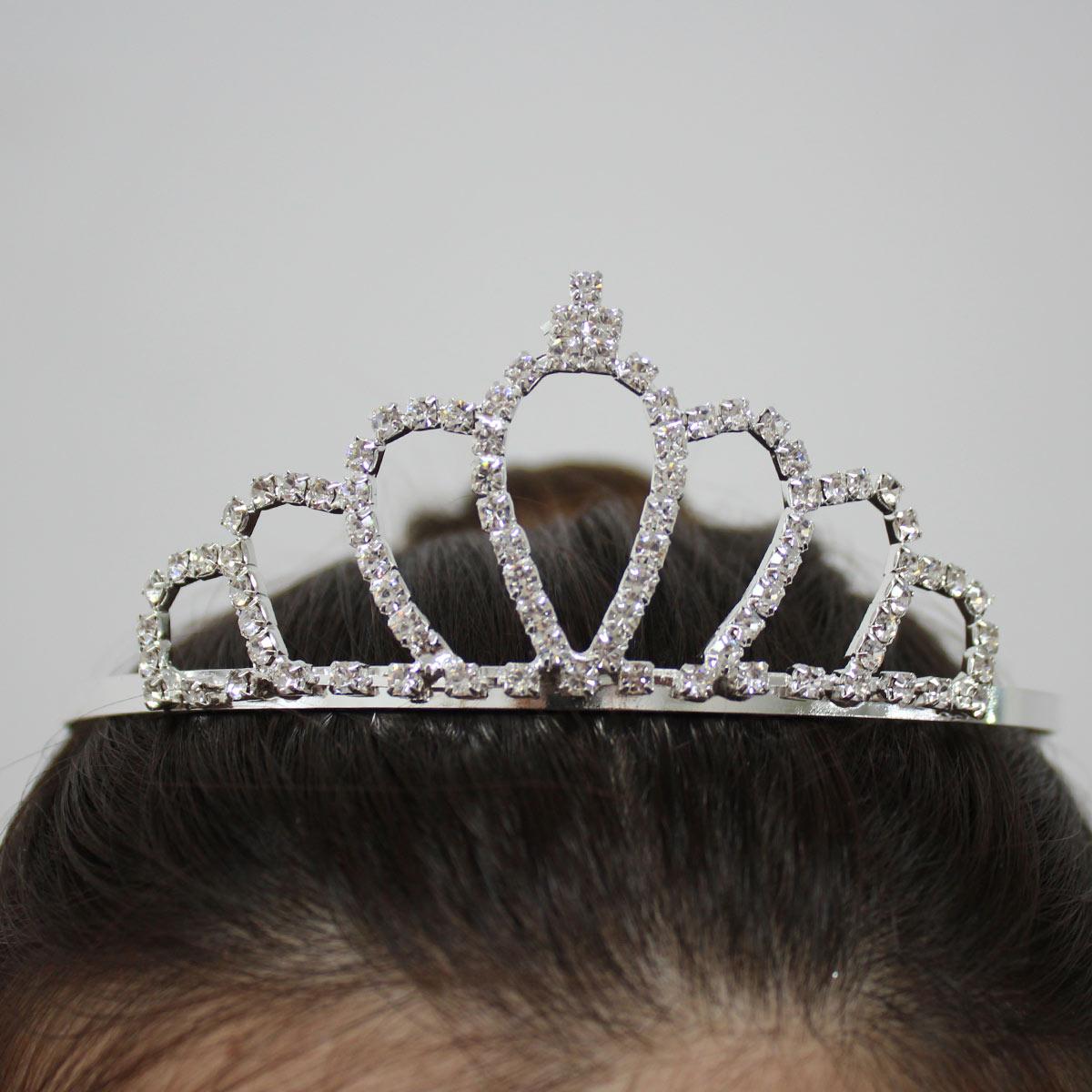 Tiara Coroa Metal Strass Princesa Noiva Debutante Miss - Vários Modelos