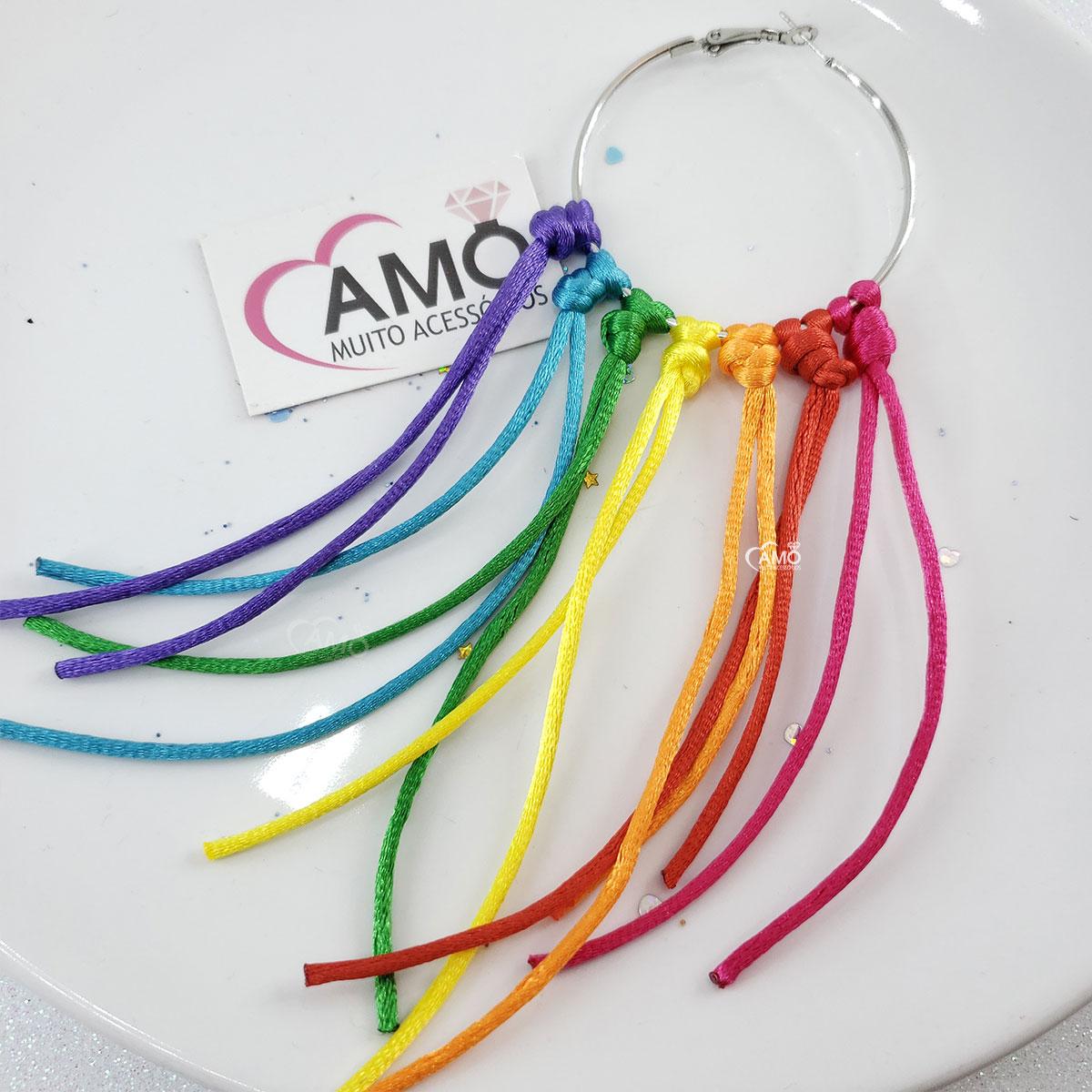 Brinco Fitas Argola Colorido - Carnaval