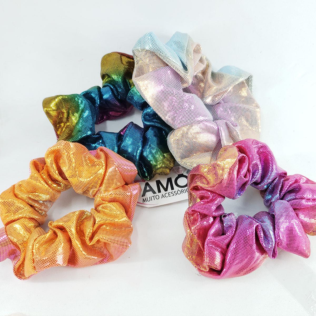 scrunchie holografica colorida