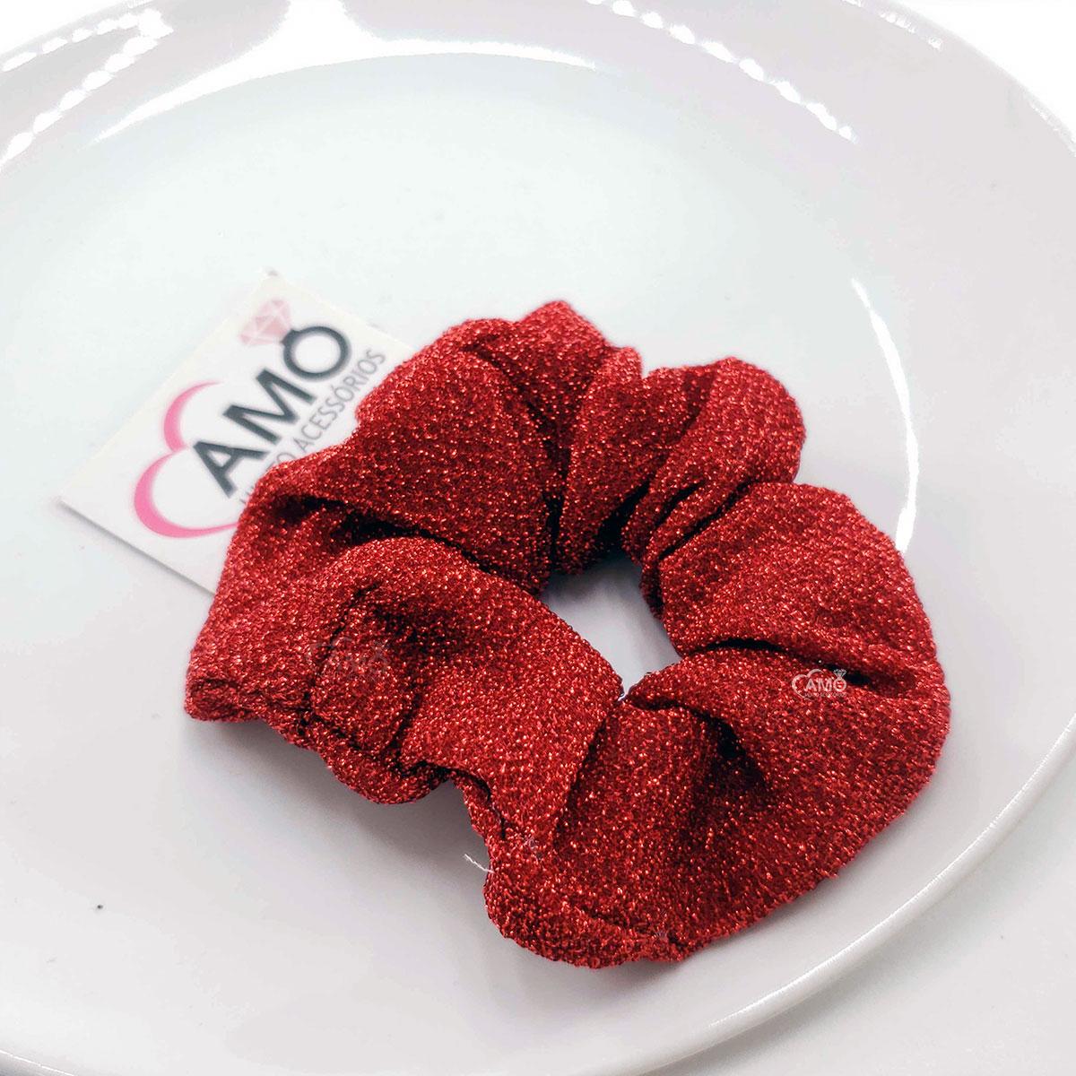 scrunchie vermelha lurex brinlhante